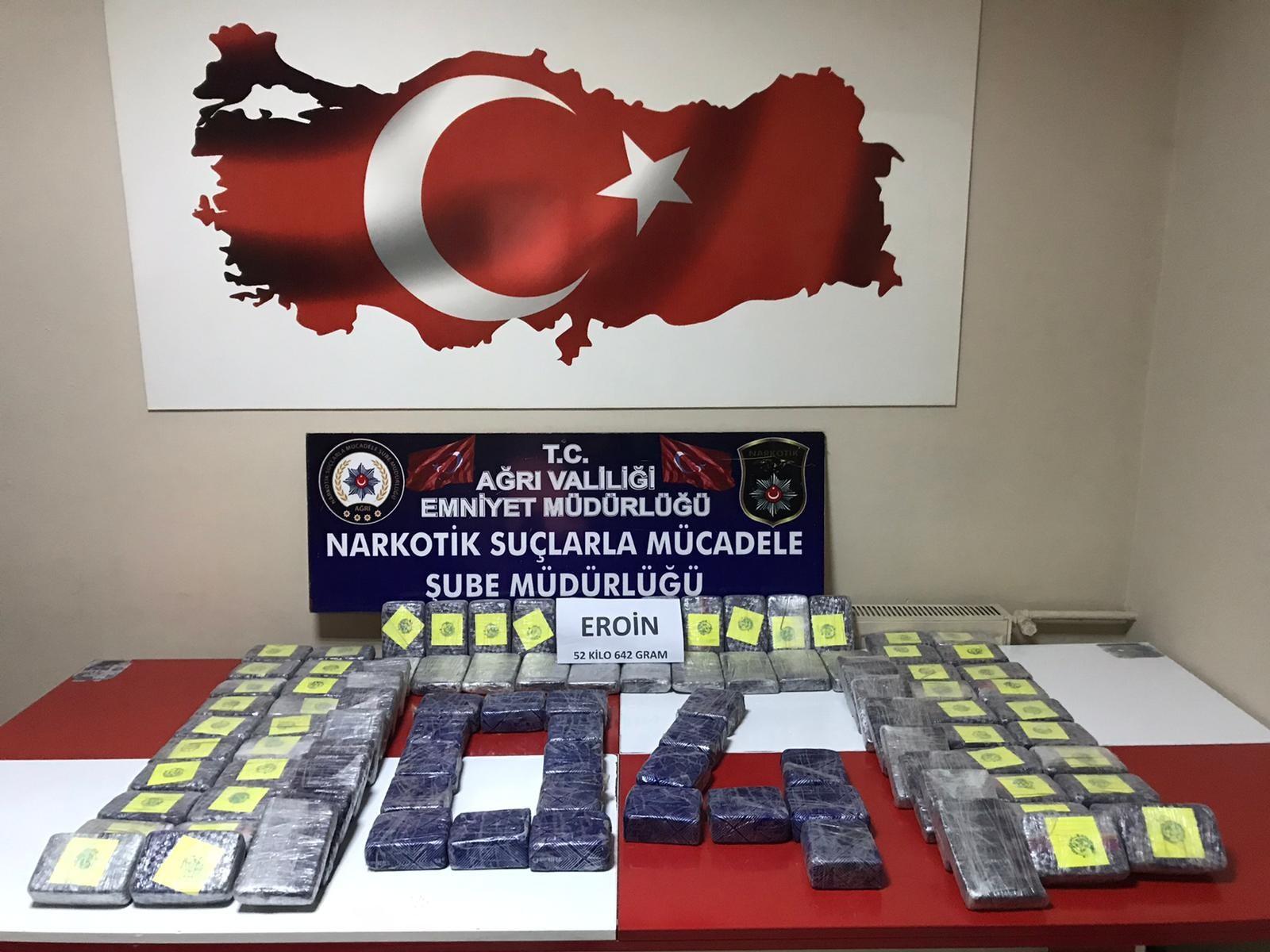 Avrupa ülkelerine gidecek olan 52 kilo eroin ele geçirildi