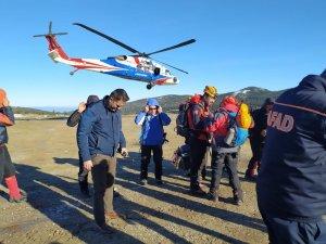 50 kişilik özel tim, helikopterle arama kurtarma çalışmalarına katıldı