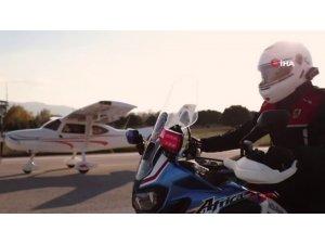"""Motosiklet sürücülerini kliple uyardı: """"Uçmak istiyorsanız uçağı tercih edin"""""""