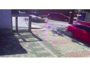 Otomobille motosiklet böyle çarpıştı