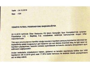 Beşiktaş, Fenerbahçe derbisinin VAR kayıtlarının açıklanması için TFF'ye başvurdu