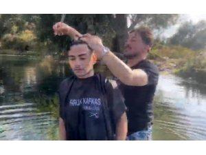 Havada, karada ve suda tıraş yapabilen sıra dışı berber