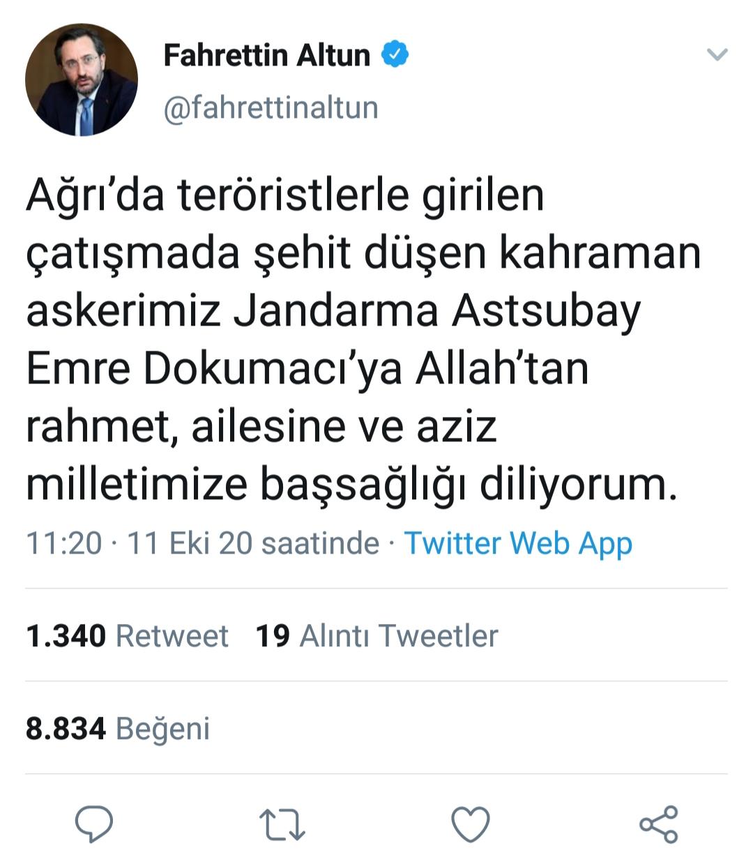 Fahrettin Altun, Ağrı şehidi için taziye mesajı yayınladı