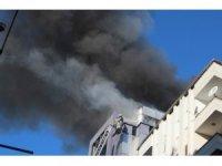 İş merkezi kullanılamaz hale gelirken yanan alan havadan görüntülendi
