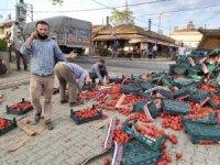 Yol domates tarlasına döndü