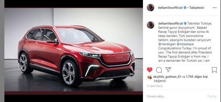 Dünyaca ünlü Della Miles'ten yerli otomobil siparişi