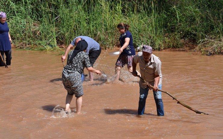 Yağışın ardından derede elleriyle balık tuttular